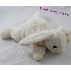 Peluche lapin MONOPRIX allongé blanc crème 29 cm