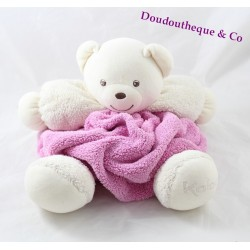 Peluche patapouf ours KALOO Plume rose tête blanche 30 cm