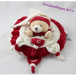 Doudou semi-flat bear DOUDOU AND COMPAGNIE Nanou red white 25 cm
