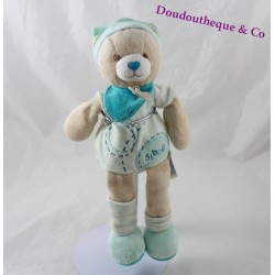 Doudou Bibou bear DOUDOU AND COMPAGNY green bonnet 25 cm