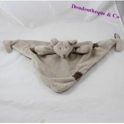 Doudou plat souris DIMPEL taupe gris triangle 47 cm