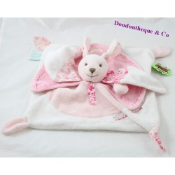 Doudou flat rabbit DOUDOU AND COMPAGNIE Tatoo pink and white 26 cm