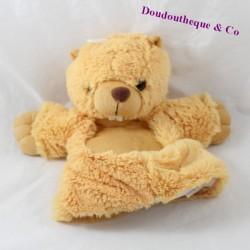 Doudou marionnette castor DNG CASH marmotte beige 27 cm
