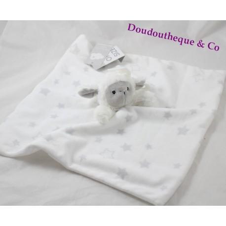 Doudou plat mouton PRIMARK white grey lamb star Early Days
