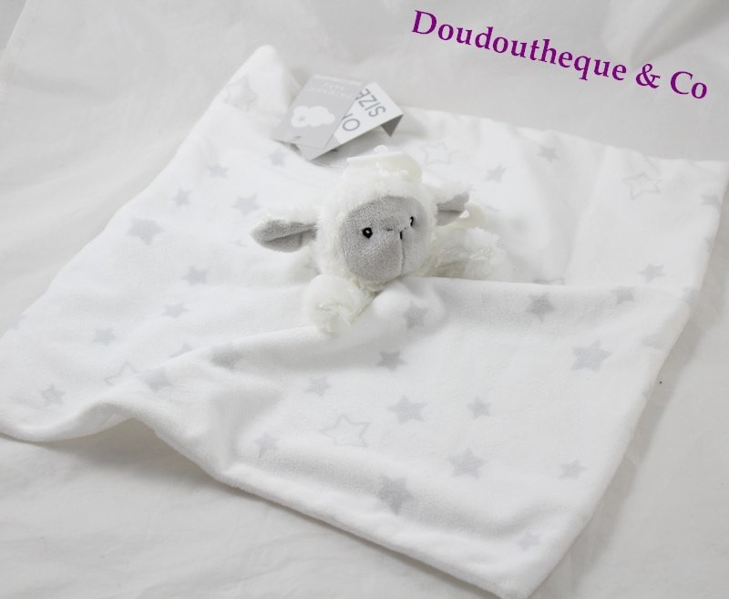 DOUDOU PLAT PRIMARK EARLY DAYS OURS BLANC ETOILE GRIS 4 NOEUDS NEUF