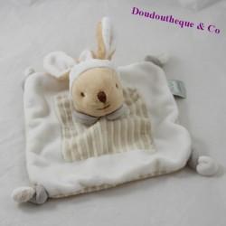 Doudou plat lapin MES PETITS CAILLOUX CMP beige blanc 18 cm