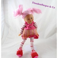 Doll COROLLE pink hair striped dress 42 cm