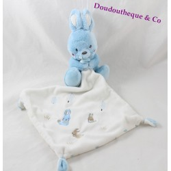 Doudou rabbit handkerchief TEX BABY blue white fir Carrefour 15 cm