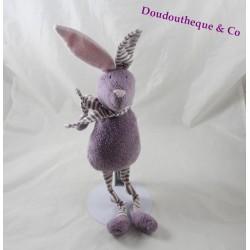 Doudou rabbit BOUT'CHOU purple pink striped scarf Monoprix 30 cm