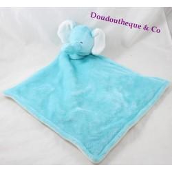 Doudou plat éléphant CARTER'S bleu blanc losange 48 cm