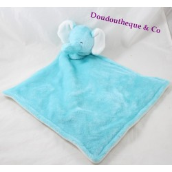 Flat elephant doudou CARTER'S blue white diamond 48 cm