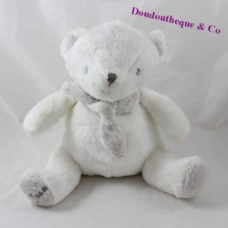 Teddy bear J-LINE Oscar white gray scarf Jline J Line seated 23 cm