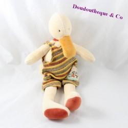 Doudou canard MOULIN ROTY La Grande Famille salopette rayée 36 cm