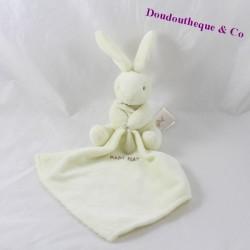 Doudou Lapin BABY NAT' mouchoir blanc 16  cm