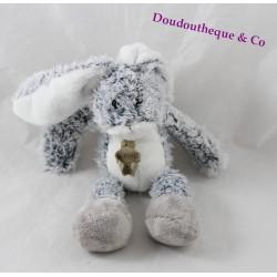 Doudou lapin HISTOIRE D'OURS gris bleu poils chiné 25 cm