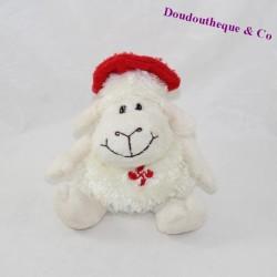 Peluche mouton NEMERY & CALMEJANE beret rouge sur la tête 15 cm