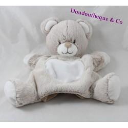 Doudou marionnette ours TEX BABY gris blanc beige 24 cm