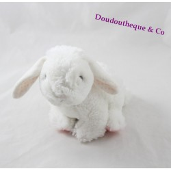 Peluche lapin TEX BABY fourrure blanc rose pois rose 15 cm