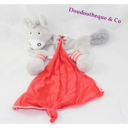 Doudou handkerchief donkey AJENA orange grey stripes
