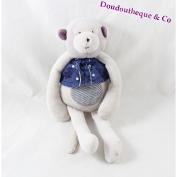 Peluche Romeo monkey MOULIN ROTY Loved and Celestial blue gray 24 cm