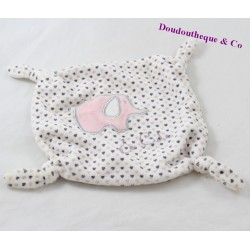 Doudou flat elephant POMMETTE So cute hearts pink knots 18 cm
