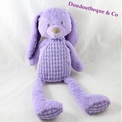 Peluche lapin TEX BABY violet motif en relief 43 cm