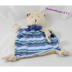 Doudou flat cat POMMETTE blue beige knots 24 cm