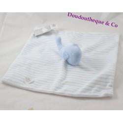 Doudou flat whale PRIMARK blue white stripes Baby Comforter