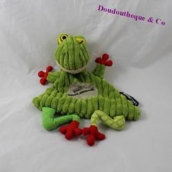Flat doudou frog DEGLINGOS Croakos red green 26 cm