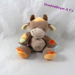 Mini doudou cow NATTOU Little Garden orange brown rattle 13 cm
