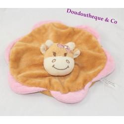 Doudou flat cow BIESSE BABY orange flower pink 20 cm