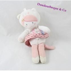 Doudou poupée SUCRE D'ORGE attache tétine chat rose coeur