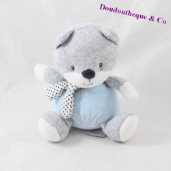 Doudou fox TEX BABY blue grey polka dots scarf 15 cm