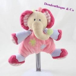 Doudou semi flat elephant NATTOU pink triangle 16 cm
