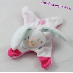 Doudou flat rabbit SUCRE D'ORGE pink white flowers 26 cm