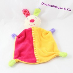 Doudou rabbit flat BABYSUN carrot orange green 26 cm
