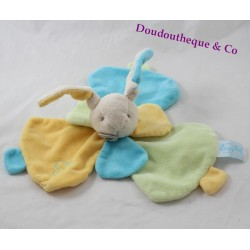 Doudou flat rabbit BABY NAT' Sweet flower blue blue petals