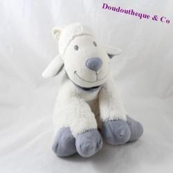 Peluche musicale mouton NICOTOY blanc bleu assis 24 cm