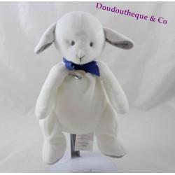 Peluche mouton JACADI agneau blanc ruban bleu 23 cm