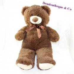 Large teddy bear MAX - SAX brown satin knot 60 cm