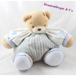 Doudou patapouf bear KALOO children blue white 25 cm