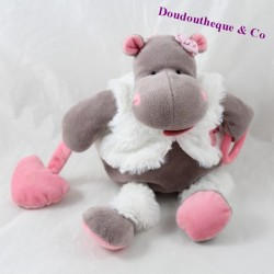 Hippopotamus activity doudou BABY NAT plush pink brown awakening 20 cm