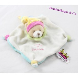 Doudou flat doudou bear AND COMPAGNIE Tatoo yellow blue 16 cm