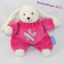 Doudou semi flat rabbit DOUDI pink flower bell 19 cm