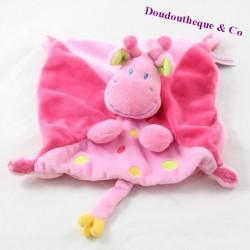 Doudou flat giraffe POMMETTE Intermarket pink balloon 20 cm