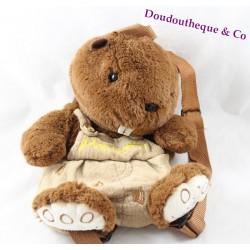 Sac à dos peluche marmotte RODA castor marron salopette 34 cm