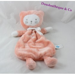 Doudou flat cat TEX BABY orange pink salmon Carrefour 32 cm