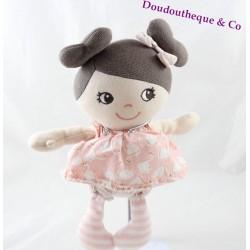 Peluche poupée H&M robe rose cygnes couettes 27 cm