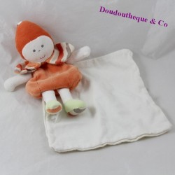 Doudou handkerchief doll BERLINGOT orange white stripes 20 cm