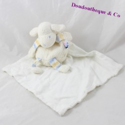 Doudou sheep handkerchief SUCRE D'ORGE white blue 19 cm